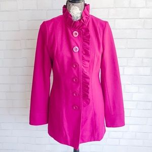 Anthropologie Tulle Coat Button Up Purple and Pink